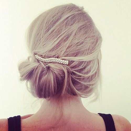 Высокая прическа для тонких волос